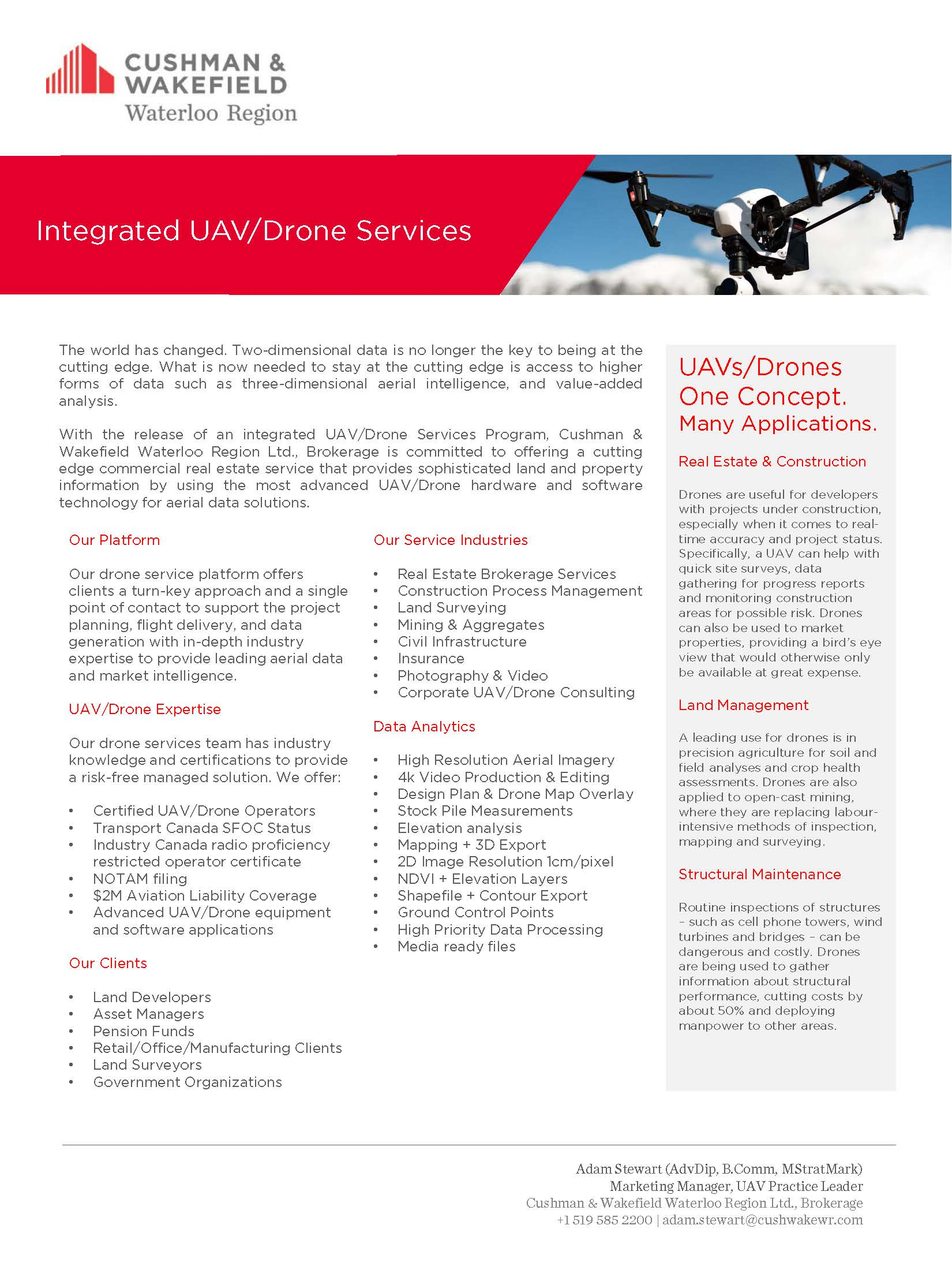 Cushman & Wakefield Integrated UAV Drone Services Feature Sheet
