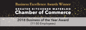 Kitchener Waterloo Chamber of Commerce Business of the Year Winner