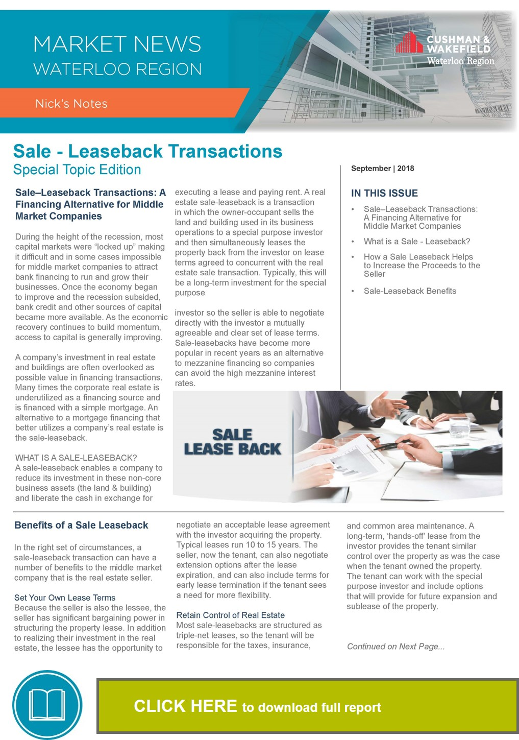 Email Cover - Sale Leaseback